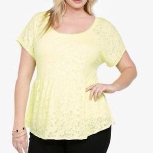 Torrid yellow peplum top
